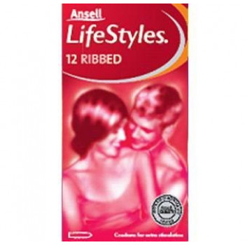 Lifestyle Condom Ribbed 12