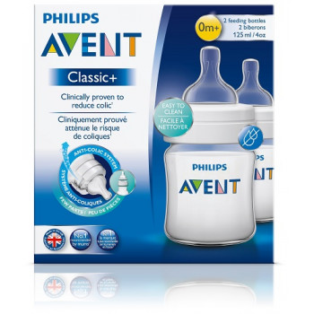Avent Classic+ 0m+ 125mL Feeding Bottle 2 Pack