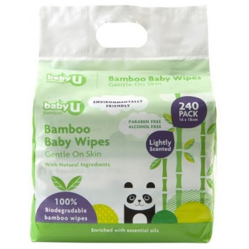 Baby U Bamboo Baby Wipes 240 Pack