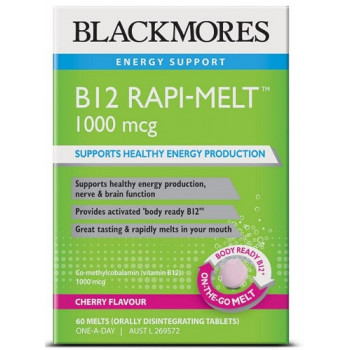 Blackmores B12 Rapi-Melt 1000mcg Cherry 60 Melts