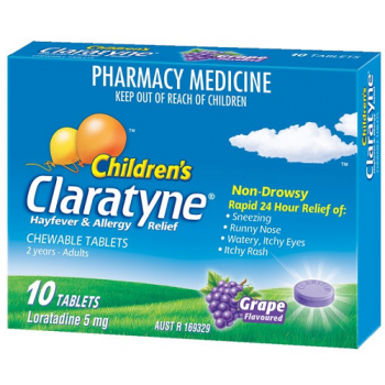 Claratyne Children's Chewable Grape Flavour Tablets 10
