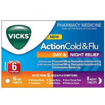 Vicks Action Cold and Flu Day and Night Relief 24 Tabs