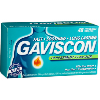 Gaviscon Tablets Peppermint 48 Tabs