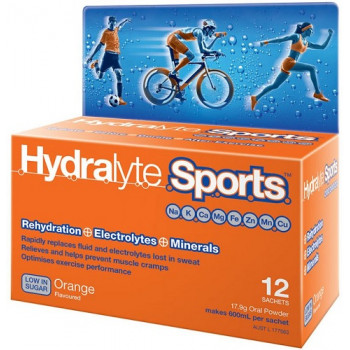 Hydralyte Sports Orange Flavoured 12 Sachets