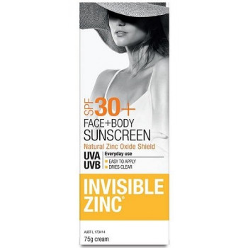 Invisible Zinc Face And Body Sunscreen SPF 30+ 75G