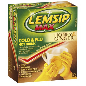 Lemsip Max Cold & Flu with Decongestant Honey&Ginger 10