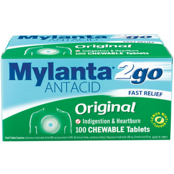 Mylanta 2GO Original Antacid Chewable Tablets x 100
