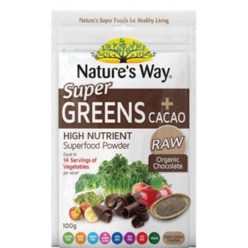Nature's Way Super Greens Plus Cacao Powder 100g