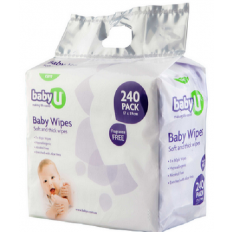 Baby U Fragrance Free Baby Wipes 240