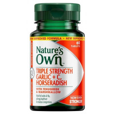 Nature's Own Triple Strength Garlic, C, Horseradish 60