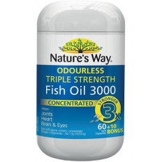 Nature's Way Odourless Triple Strength Fish Oil 3000 60 + 10 Capsules