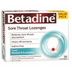 Betadine Sore Throat Lozenges Menthol & Eucalyptus 36