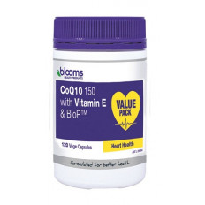 Blooms CoEnzyme Q10 150 with Vitamin E & BioP Vege Caps 120