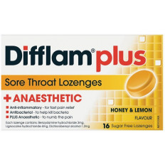 Difflam Plus Sore Throat Lozenges Honey/Lemon 16