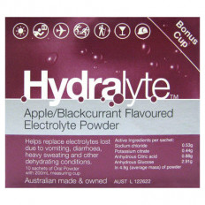 Hydralyte Electrolyte Powder Apple and Blackcurrant 10 Sachets