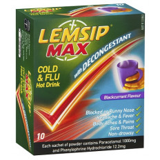 Lemsip Max Cold & Flu with Decongestant Blackcurrant 10