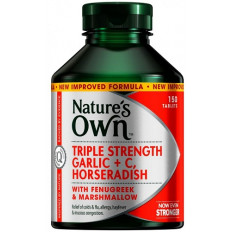 Nature's Own Triple Strength Garlic, C, Horseradish 150