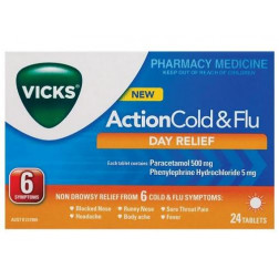 Vicks Action Cold and Flu Day Relief 24 Tabs