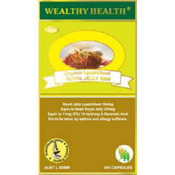 Wealthy Health Organic Lyophilised Royal Jelly 1000  365 Capsules