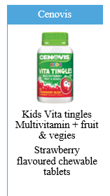 Cenovis Kids Vita Tingles Multivitamin, Fruit and Vegies Strawberry Flavoured Chewable Tablets