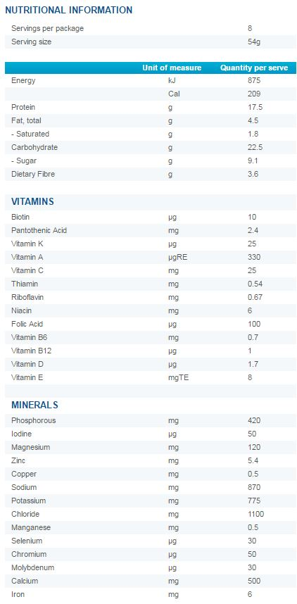 Optifast VLCD Mixed Vegetable Soup Nutritional Information
