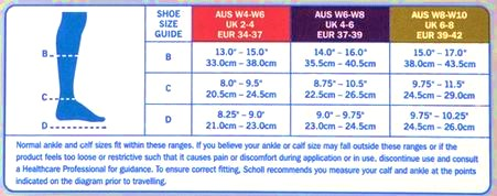 Scholl Flight Socks Ladies Sizing Chart