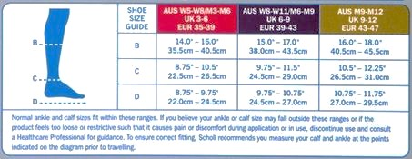 Scholl Flight Socks Unisex Black Sizing Chart