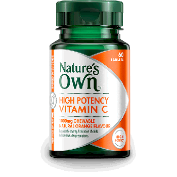 High Potency Nature's Own Vitamin C Natural Orange Flavour 1000mg 60 Chewable Tabs