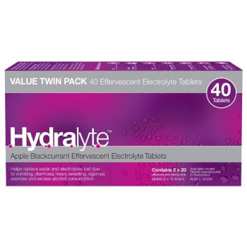 Hydralyte Effervescent Tablets Apple Blackcurrant 40