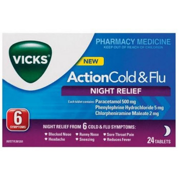 Vicks Action Cold and Flu Night Relief 24 Tabs