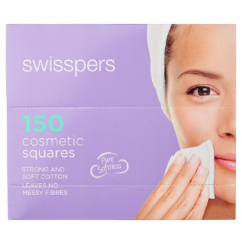 Swisspers Cosmetic Cotton Squares 150 Pack