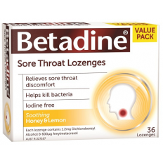 Betadine Sore Throat Lozenges Honey & Lemon 16