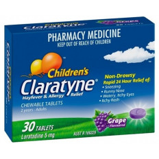 Claratyne Children's Chewable Grape Flavour Tablets 30