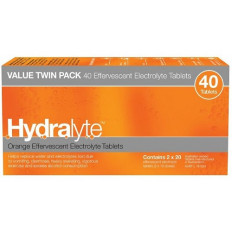 Hydralyte Effervescent Tablets Orange 40