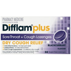 Difflam Plus Sore Throat Cough Lozenges Blackcurrant 24