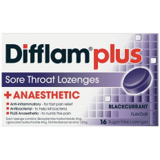 Difflam Plus Sore Throat Lozenges Blackcurrant 16