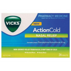 Vicks Action Cold Nasal Relief 24 Tabs